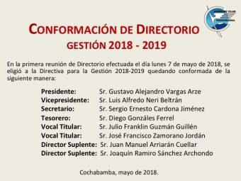 Conformación de Directorio 2018 – 2019