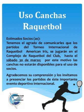 Uso canchas de Raquetbol