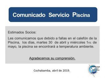 Comunicado Servicio Piscina