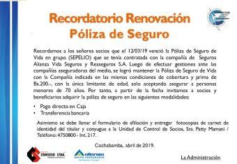 Recordatorio  Renovación Póliza Seguro