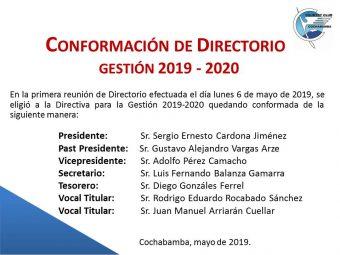 Conformación de Directorio 2019 – 2020